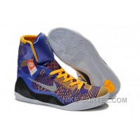 Buy Cheap Nike Kobe 9 2014 High Tops Blue Yellow Black Mens Shoes Super Deals 5SsSj