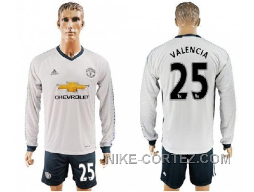 Manchester United #25 Valencia Sec Away Long Sleeves Soccer Club Jersey 2016 Rabais
